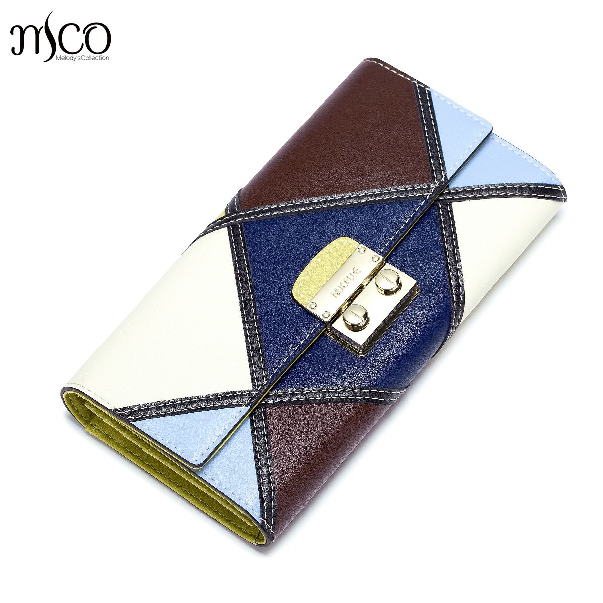 Genuine Leather Women Wallets Female Fashion Patchwork Cowhide Wallet Ladies Clutch Long Style Trifold Purse Money Clips