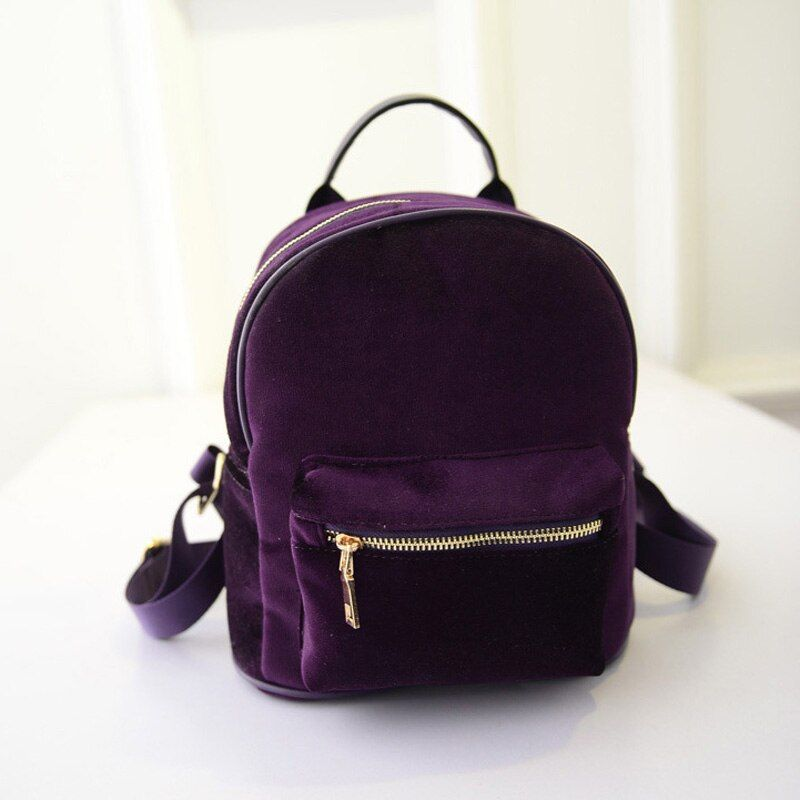 New Fashion Women Velvet Backpacks Pleuche Casual Style Girls Mochila Zipper Bags BS88