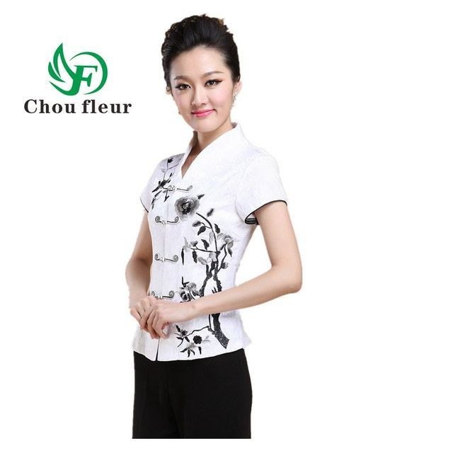 The Elderly Women's Mother Blouse Short Sleeve Summer Shirt Lady Costume Traditional Chinese Blusa M-4XL Large
