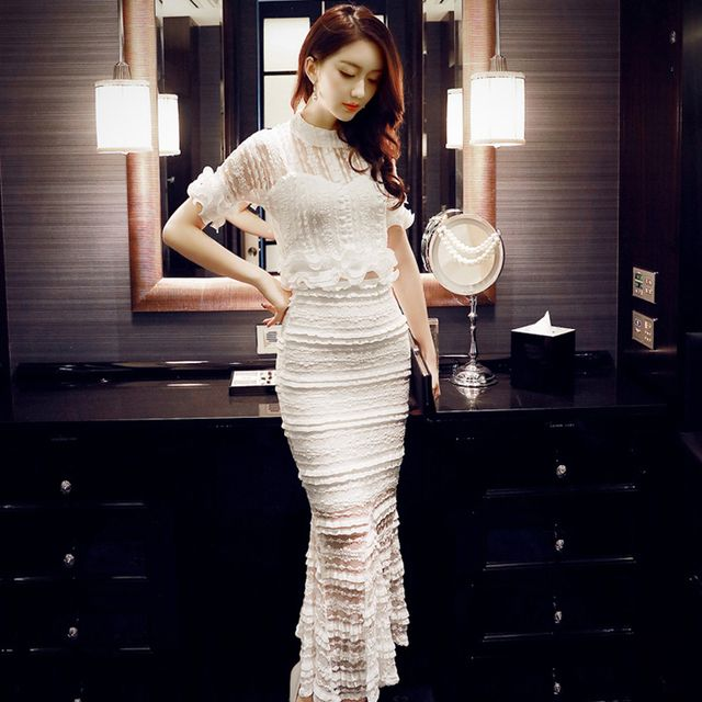 2017 spring summer sexy white lace bodycon dress sets vestido de renda longo vintage 2 piece set women crop top skirt set L8161