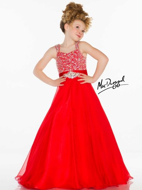 2015 Ball Gown Spaghetti Straps Floor Length Beaded Black Red White Organza Baby Little Infant Long Girls Pageant Dresses