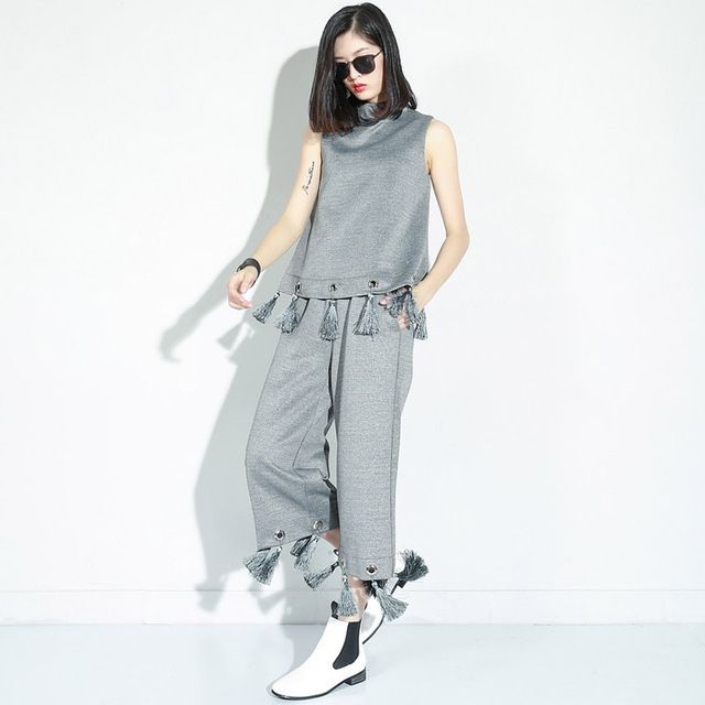 [CHICEVER] 2016 Autumn New Tassels Vest Top + Elastic Waist Nine pants Two-piece Suit Women Fashion Set