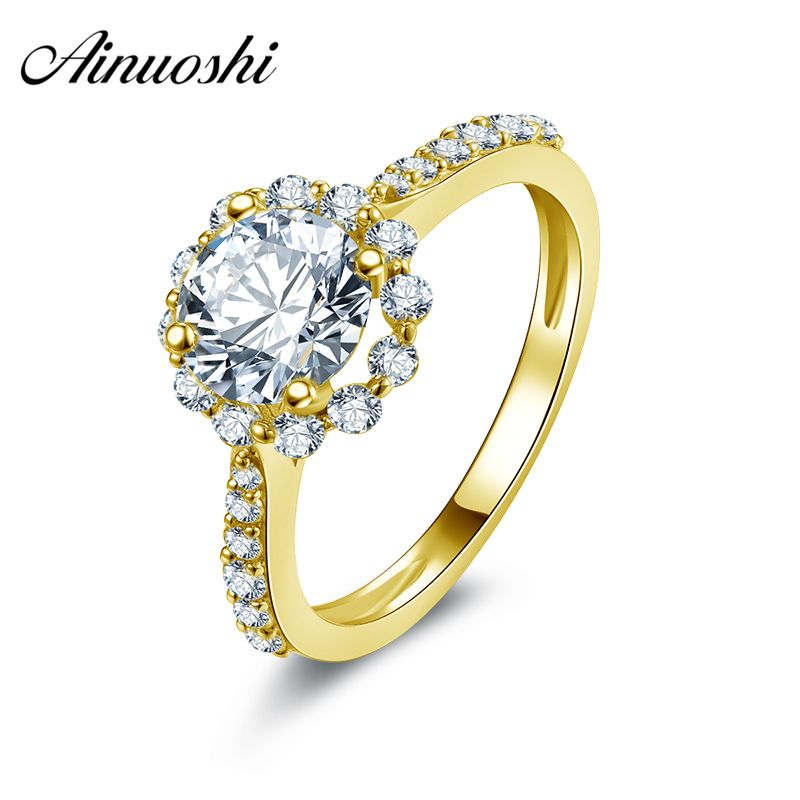 AINUOSHI 10K Solid Yellow Gold Women Engagement Ring Flower Shape Joyeria Fina 1 ct Simulated Diamond Halo Wedding Band Rings