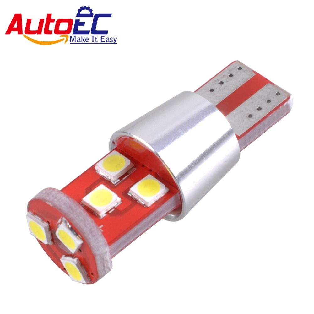 AutoEC 2x T10 9 smd 3030 canbus w5w 164 198 pure white for car truck motorcycle wedge light side lamp bulbs DC12v-24v #LB175