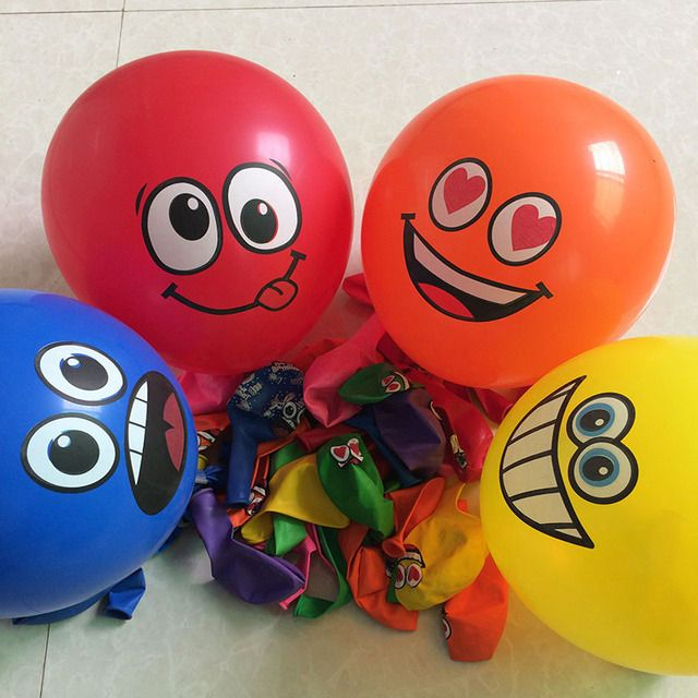 20pcs/lot Printed Big Eyes Smiley Air Balls  Happy Birthday Party  Decoration balloons Ballons Inflatable Latex Balls Kid Toys
