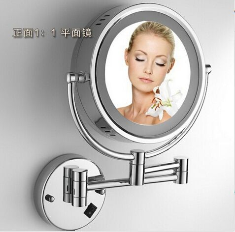 Hot Sale Bathroom Chrome Wall Mounted 8 inch Brass 3X/1X Bath Led Mirror Folding Makeup Mirror Cosmetic Mirror Lady Gift