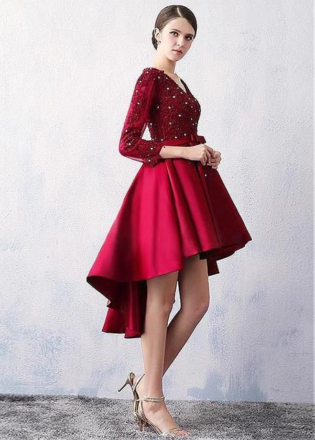 Burgundy Lace Satin High Low Short Prom Cocktail Dresses 3/4 Sleeves Short Front Long Back Cocktail Dresses Robe De Cocktail
