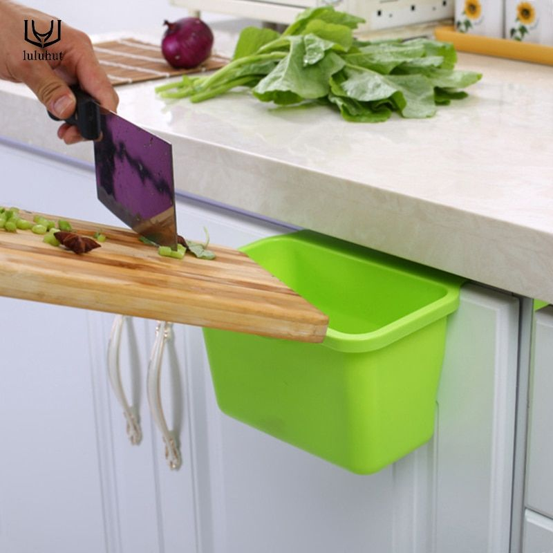 luluhut plastic kitchen storage box portable mini trash bin desktop kitchen rubbish garbage organizer cupboard hanging box