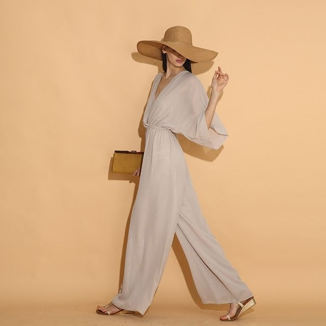 LY008 New Arrival beach style elegant brief loose long chiffon wide leg pants overalls jumpsuit women summer 2016