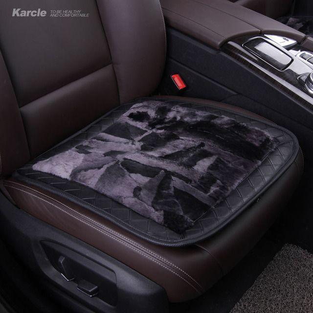 Karcle 1PCS Sheepskin Fur Seat Covers Wool&Leather Breathable Car Seat Cushion Anti-Skid Car Styling for KIA Auto Accessories