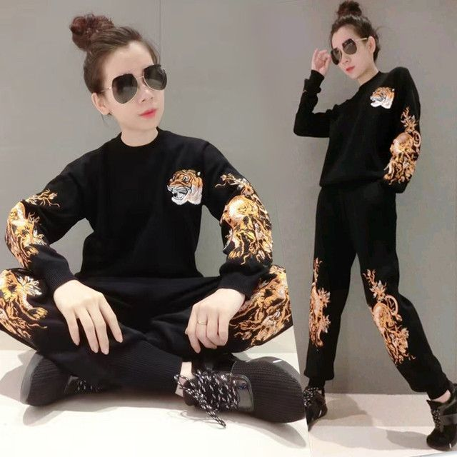 2017 Direct Selling Wool Tracksuits Autumn And Winter New Embroidery Tiger Head Knitted Suit Female Thickening Sweater Two Sets