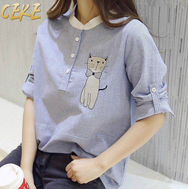 Blouse Shirt Female Cotton Linen 2017 New Summer Stripe Sweet Cartoon Cat Embroidery Shirts Women Tops Ladies Tops
