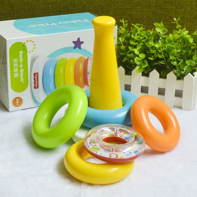 baby rainbow circle children stacking ring tumbler puzzle toys