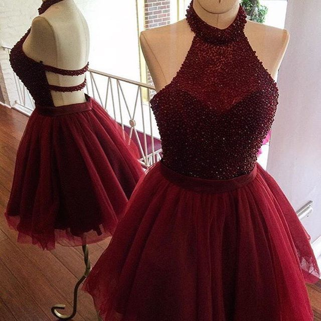 Lovely Halter Beads Burgundy Homecoming Cocktail Party Dresses 2017 Vestidos de 15 Cortos Backless Short Prom Dresses