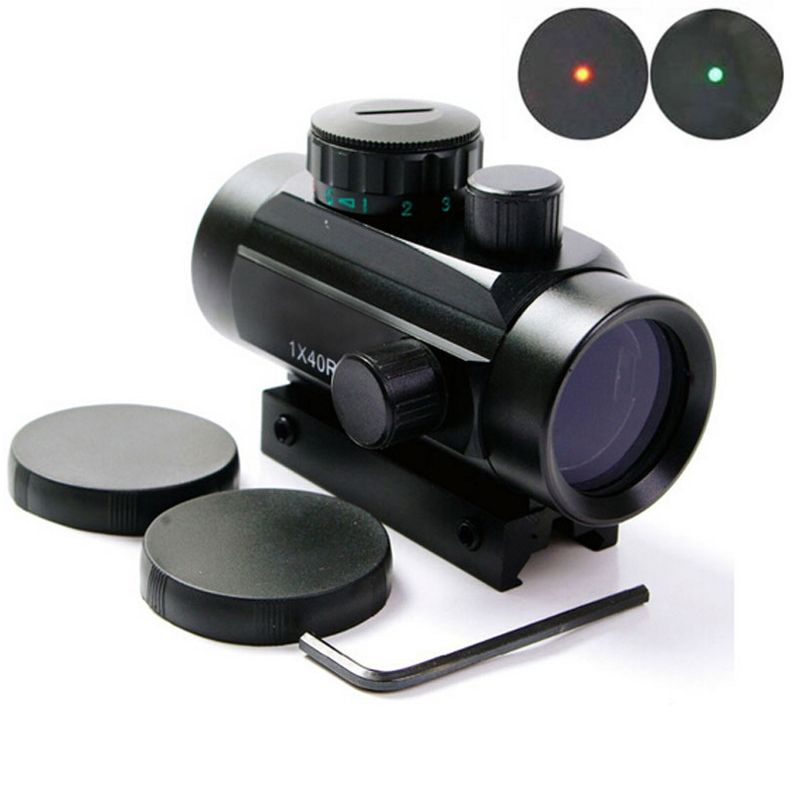 1x40 Red Green Dot RifleScope Holographic 1 x 40mm Airsoft Red Green Dot Sight Scope 11 & 20mm Rail Mount