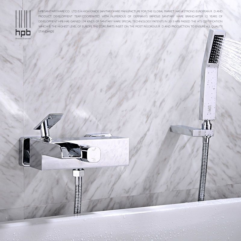 Free Shipping Square HPB Brass Waterfall Bathroom Bath Tub Faucet Mixer Tap Cold Hot Water taps Chrome With Shower Head