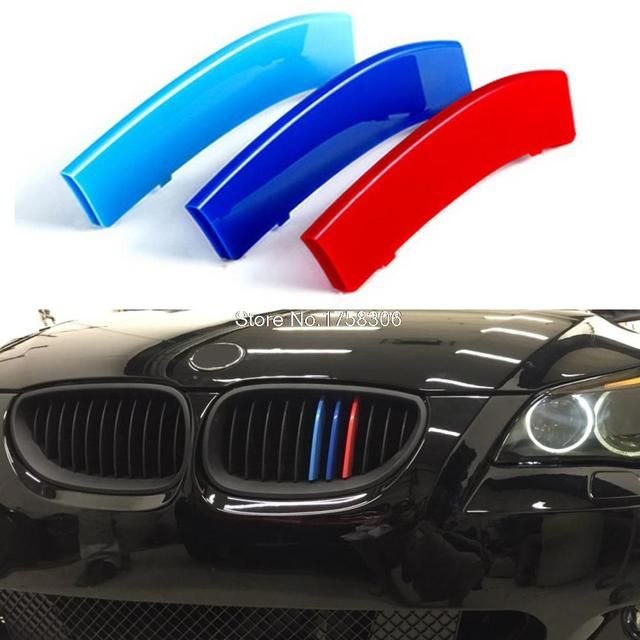 3D Styling Car Front Grille Trim Sport Strips Cover Stickers for 2004-2010 BMW 5 Series E60