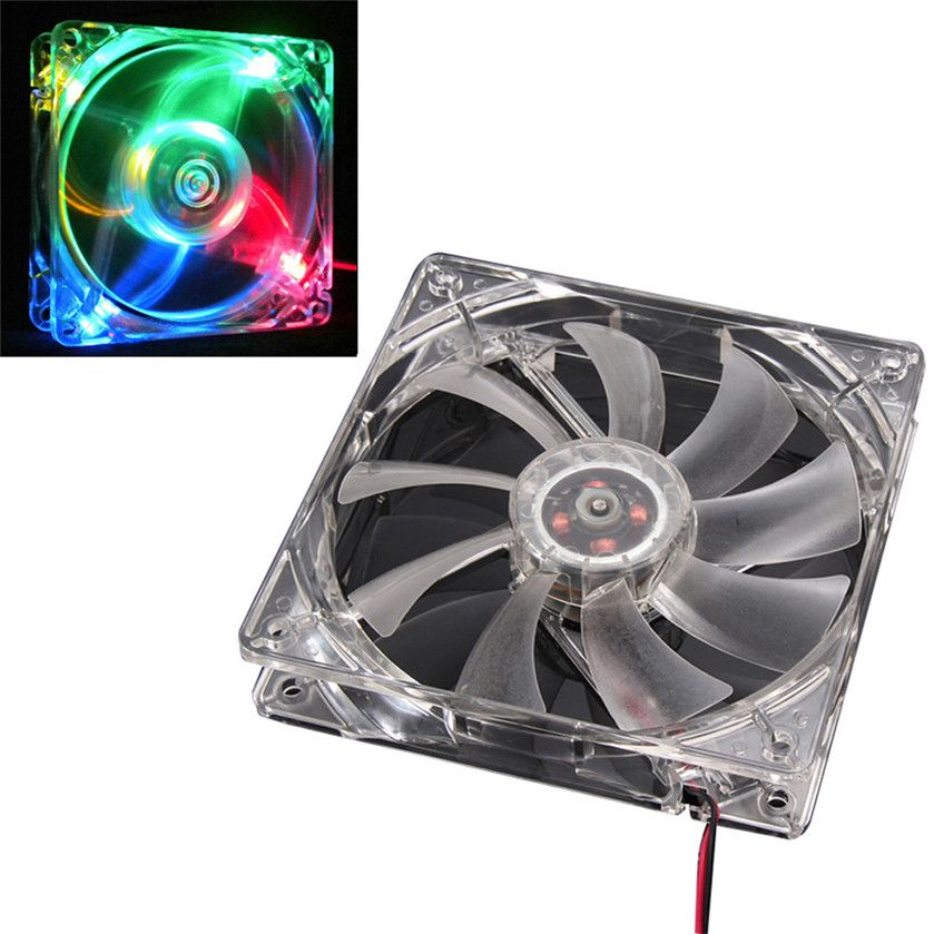 Best Price Colorful Quad 4-LED Light Neon Clear 120mm PC Computer Case Cooling Fan Mod 2.83