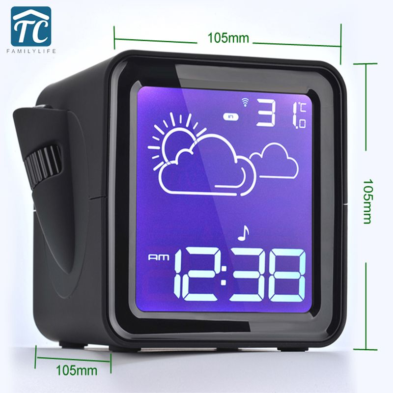 LED Projector Radio Digital Backlight display Clock Desk Snooze Weather Station Outdoor Temperature Humidity alarm clock