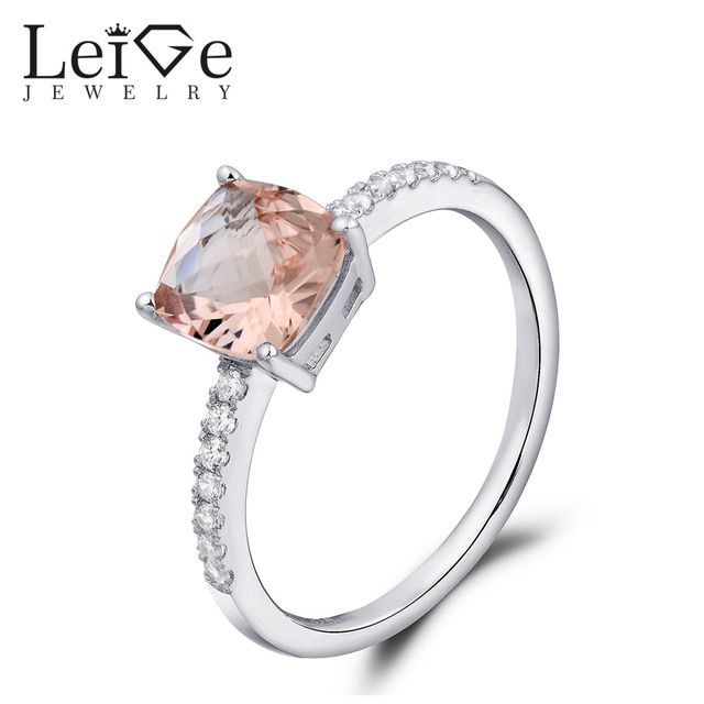 Leige Jewelry Natural Morganite Promise Ring Solitaire Pink Gemstone Sterling Silver Cushion Cut Wedding Rings Anniversary Gift