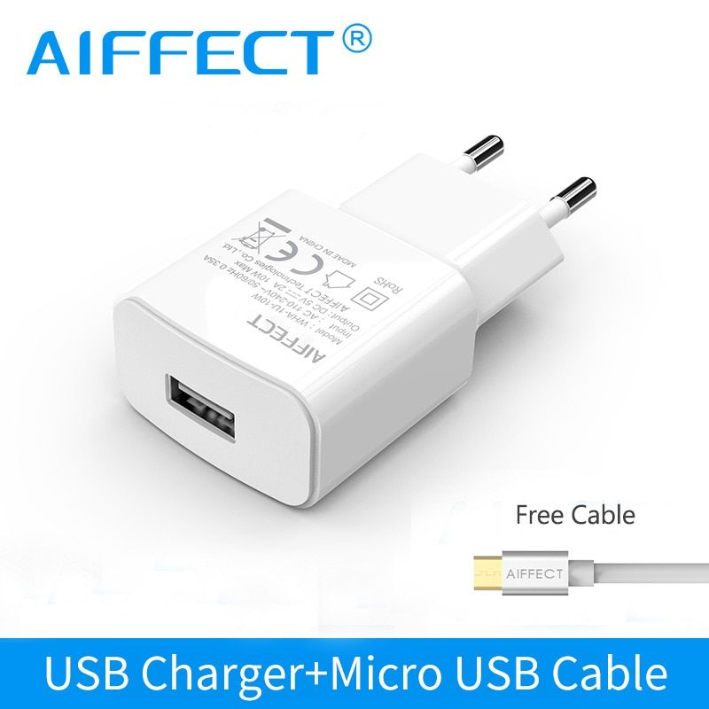 AIFFECT USB Charger EU Plug 5W 10W Universal Mobile Phone Charger For Samsung iPhone Portable Wall Charger With Micro USB Cable