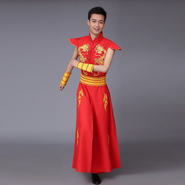 Man Chinese Folk Dance China Dragon Costume Male Younger Drum Dance Costumes Spring Festival Stage Performance Clothes
