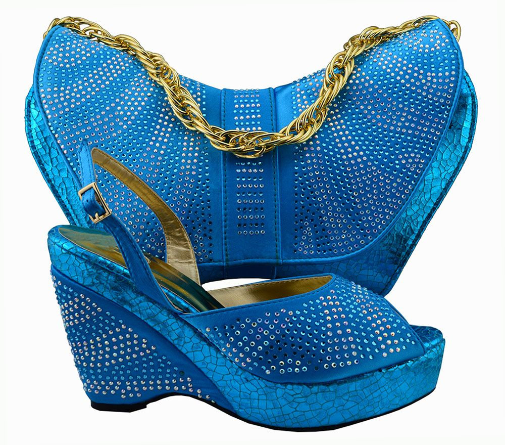 Euro size38-42 Blue Italian Shoes With Matching Bag High Quality lady high heels And Bag with stones For Evening dress,MM1005-1