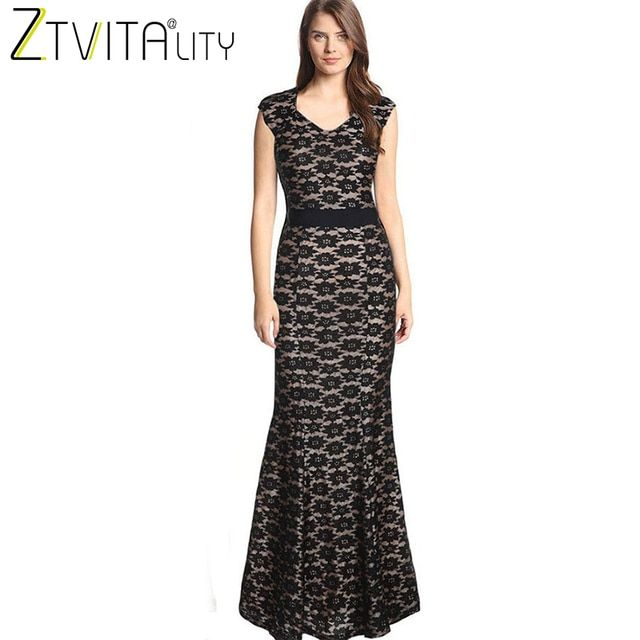 ZTVitality 2018 New Fashion Summer Women Dress Sexy Slim Clubwear Long Party Dresses Elegant Vestidos Solid Lace Dress