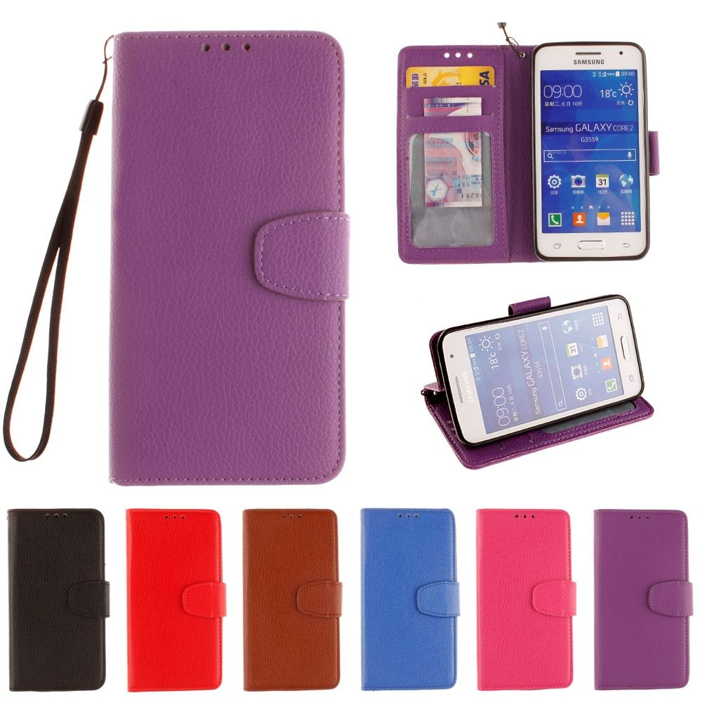 Flip Case for Samsung Galaxy Core2 DS Core 2 Duos SM-G355h/ds Phone Leather Cover for G355H DS G355HDS G355M SM-G355H SM-G355M