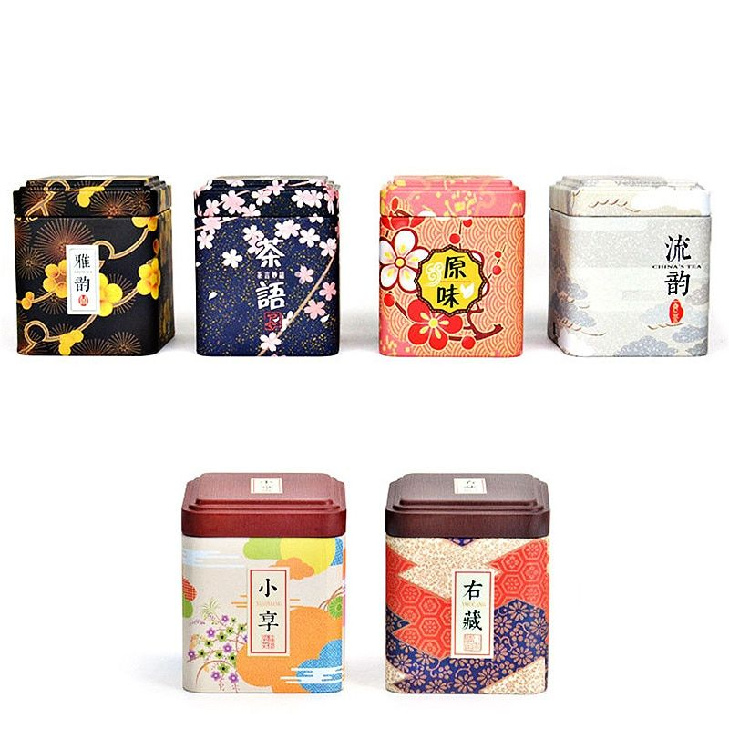 6Pcs Square Sealed Cans Vintage Coffee Tea Tin Container Beautiful Colorful Sakura Floral Pastoral Iron Storage Tank Box