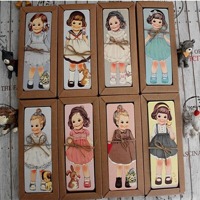 30PCS/lot  Cute Kawaii Paper Bookmark girl doll mate series Bookmark set book holder message card with Kraft package