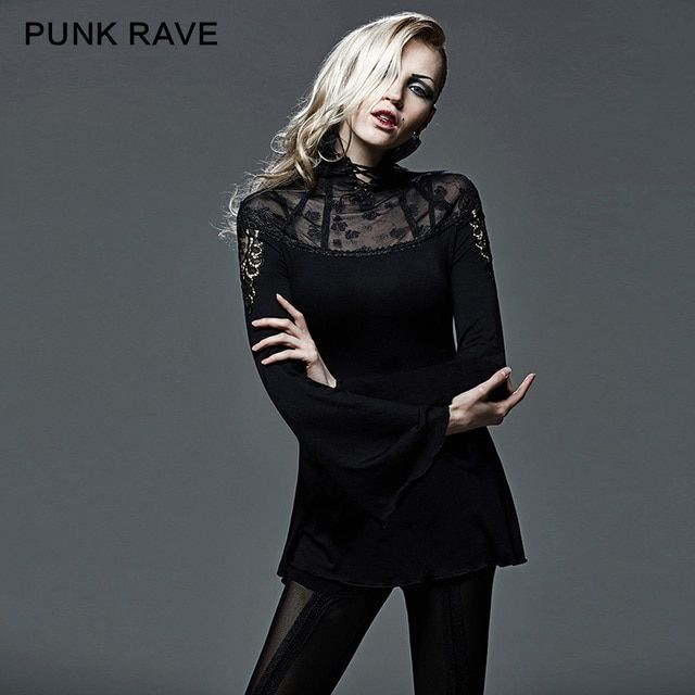 PUNK RAVE Gothic hollow out tailor network turtleneck full sleeve T-shirt T-405