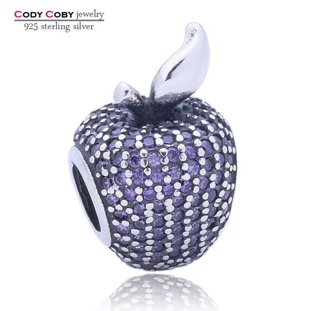 New Sterling Silver Purple Pave Apple Charm CZ Beads Fit Original DIY Bracelet Pendants Authentic berloque prata 925 Jewelry