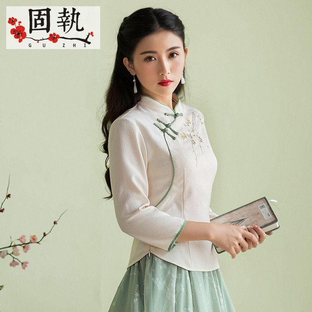2016 Autumn Women Blouse Shirt Elegant Vintage Retro Embroidery Mandarin Collar Blusa Top