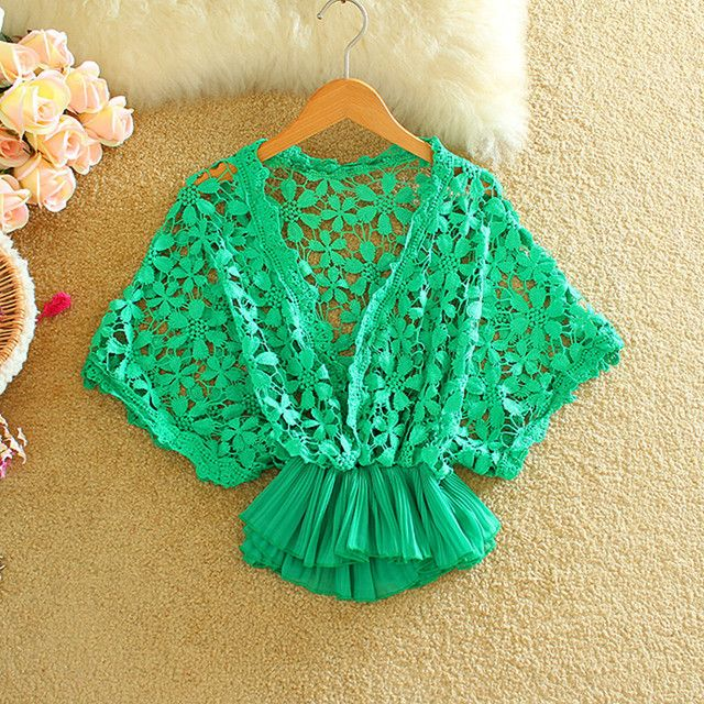2016 summer new fashion women batwing sleeve lace blouse flower crochet chiffon bottom cropped peplum tops