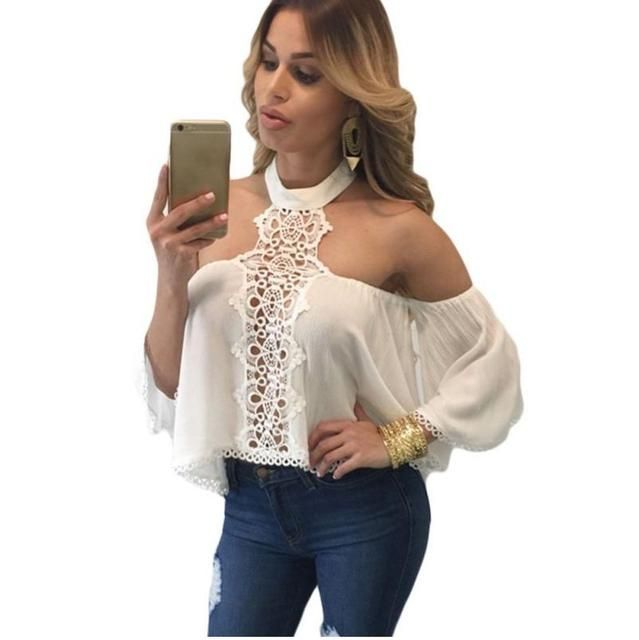 White Lace Blouse Women Sexy Off Shoulder Top Long Sleeve Casual Tops Chiffon Blouse Blusas Femininas Women Clothes