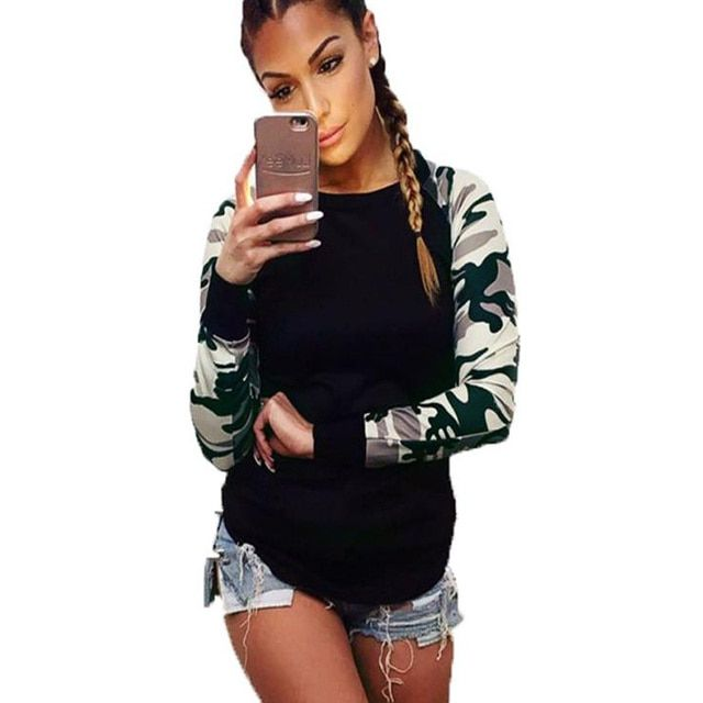2016 Autumn Spring Tops Women Army Green Patchwork Long Sleeve T Shirt Casual Tops Tee  Shirt Female Hot Sale Ropa Mujer