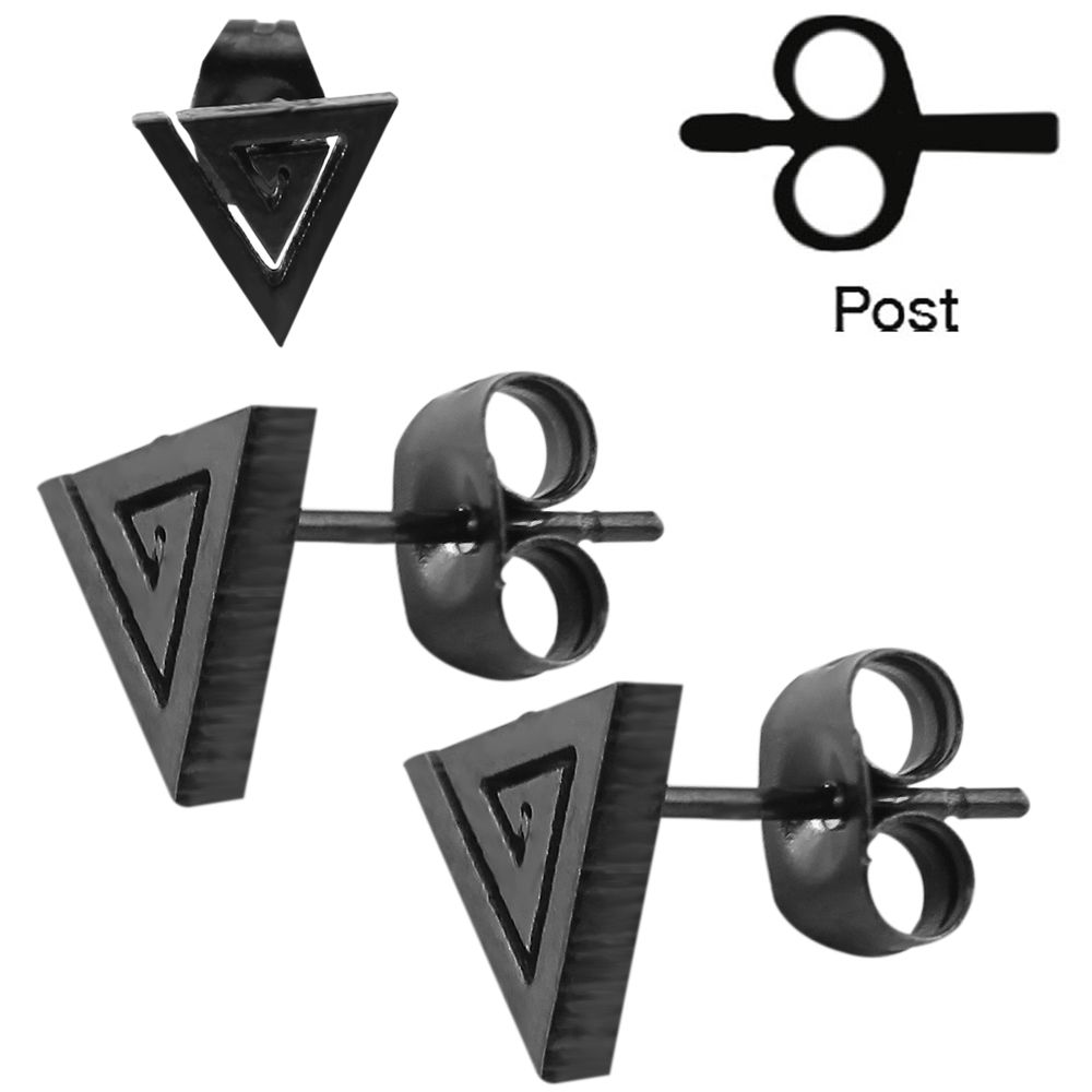 2016 Hot Punk Fashion Stud Piercing Black Triangle Design  Stud Earrings For Women/Men Ear Piercing Studs Earring Jewelry