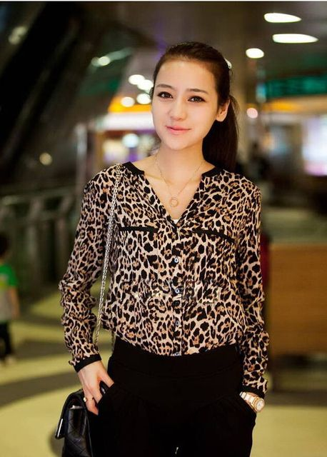 Fashion Women Wild Leopard Print Chiffon  Lady Sexy Long-sleeve Top Shirt Loose Plus Size V Neck Leopard  KJG-Y456