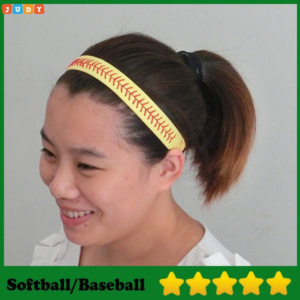 2016 High quality Real leather yellow fastpitch softball/baseball seam headbands