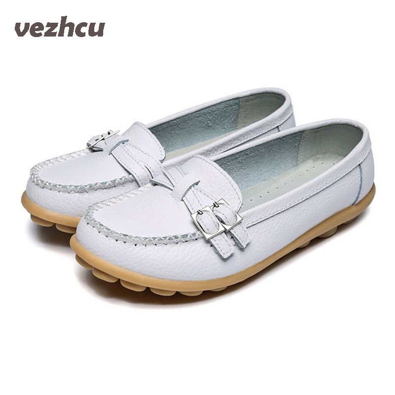 VZEHCU Shoes Woman  Genuine Leather Women Shoes Flats Fashion Loafers Slip On Women's Flat Shoes Moccasins  ac52