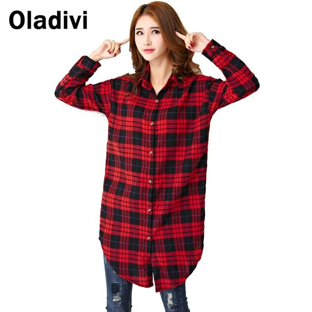 Casual Women Apparel 2017 Spring New Long Sleeved Turn Down Collar Casual Loose Blouse Plaid Shirt Female Long Top Tunics L XXL