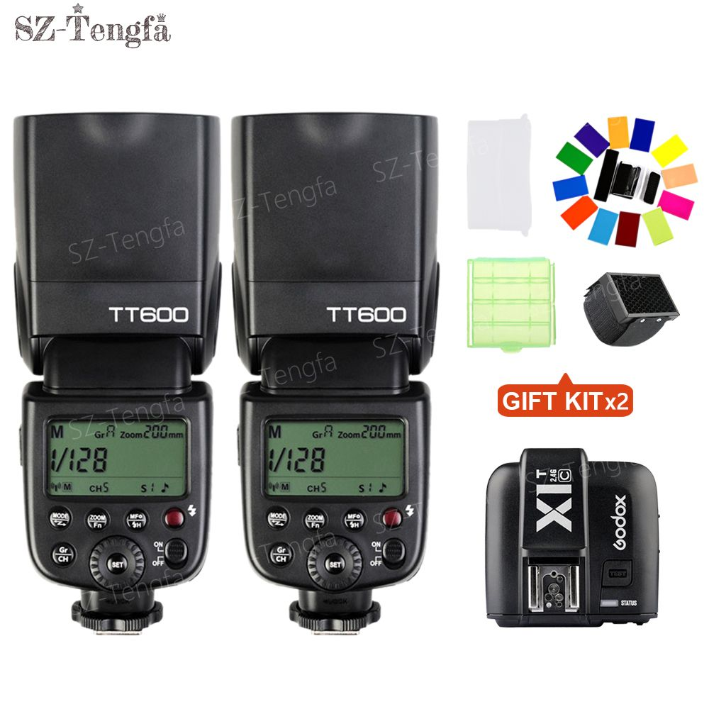 2pcs Newest Godox TT600 2.4G Wireless Camera Flash Speedlite With X1T-C Transmitter for canon