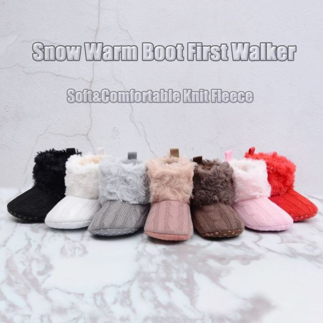 Baby First Walker Shoes Winter Warm Prewalker Baby Shoes Toddler Girl Boy Crochet Knit Fleece Boot Wool Snow Crib Shoes