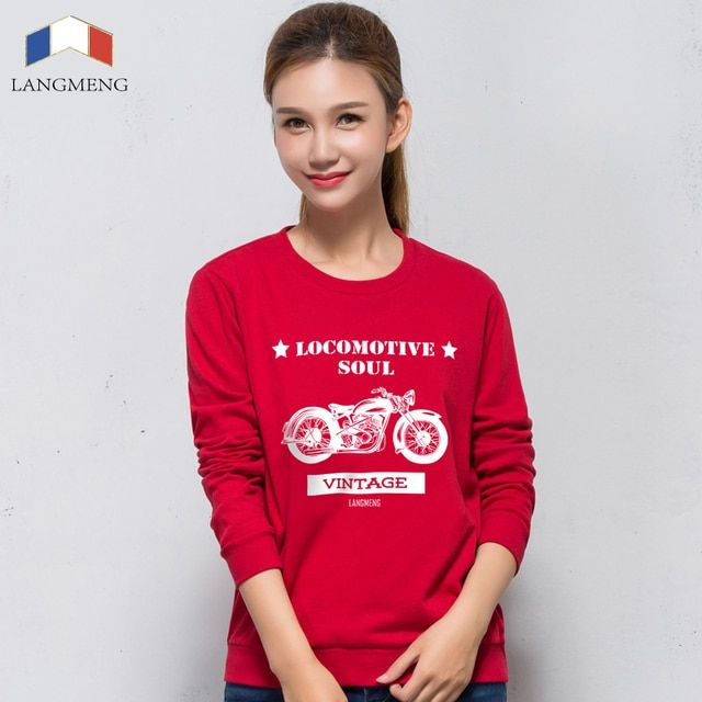 LANGMENG Brand Autumn Winter 100% Cotton women hoodies sweatshirts long sleeve streetwear lovers pullovers fashion candy color
