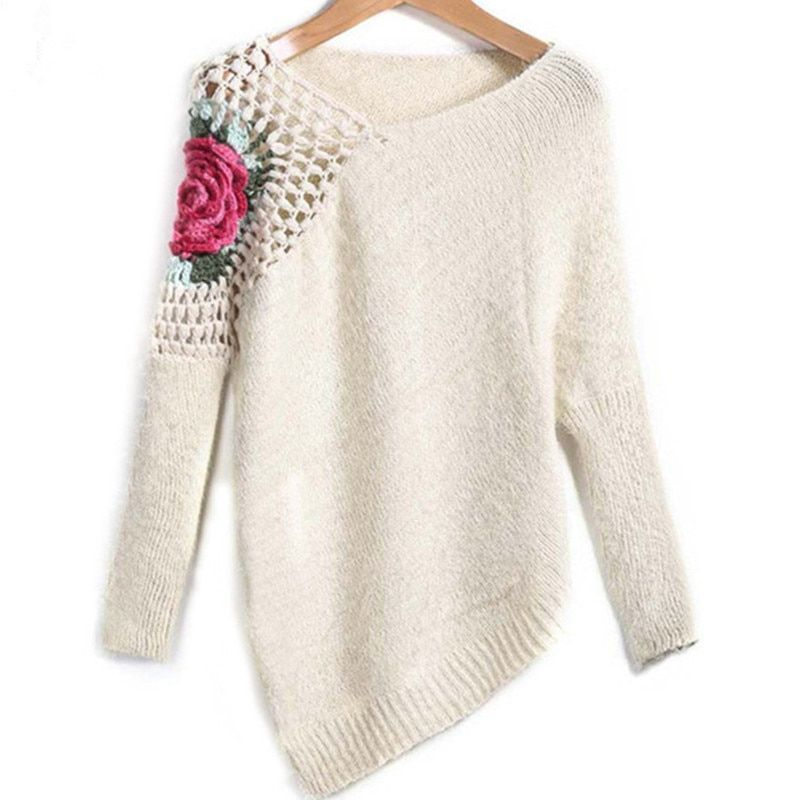 Women's Floral Embroidery Crochet Asymmetrical Knitting Pullovers 2018 Fashion Spring Apricot Round Neck Loose Knit SweaterSW431