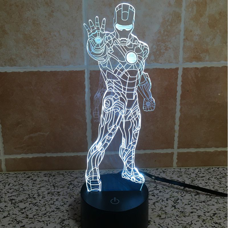 The new Holiday Lamp colorful LED lamp stand Iron Man Mood Lamp 3D Acrylic visual illusion light touch lamp night light