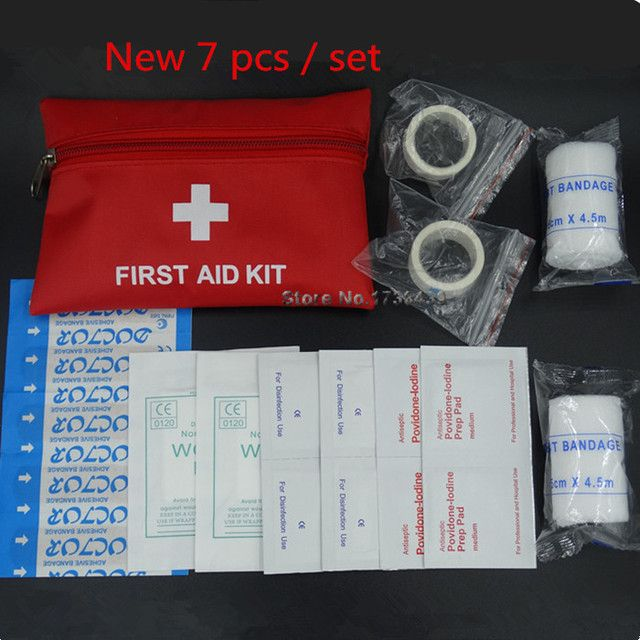 High Quality  7pcs/set First Aid kit Outdoor travel survival kit Professional  Family Emergency Mini Medical bag Wholesale