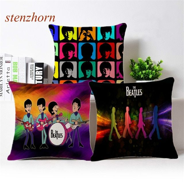 Decorative Throw Pillow Case Cover Cute Cartoon The BEATLES Music CD Let it Be Love Lyrics Cushion Cover For Sofa Home Almofada