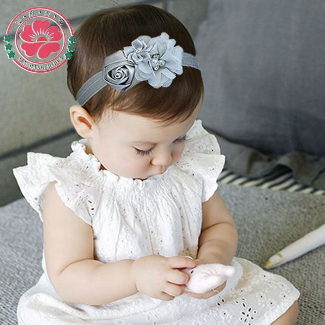 12pcs/lot Newborn Stain Rose Pearl Chiffon Flower Rhinestone Headband Hair Accessories Infant Children Baby Girls Headband 609